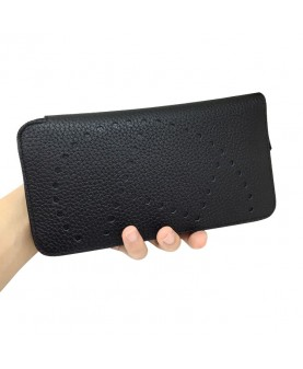 Replica Hermes Wallet Black Togo Leather-79069