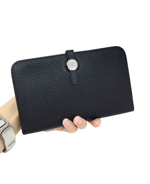 Replica Hermes Passport Wallet Black Togo Leather-79079