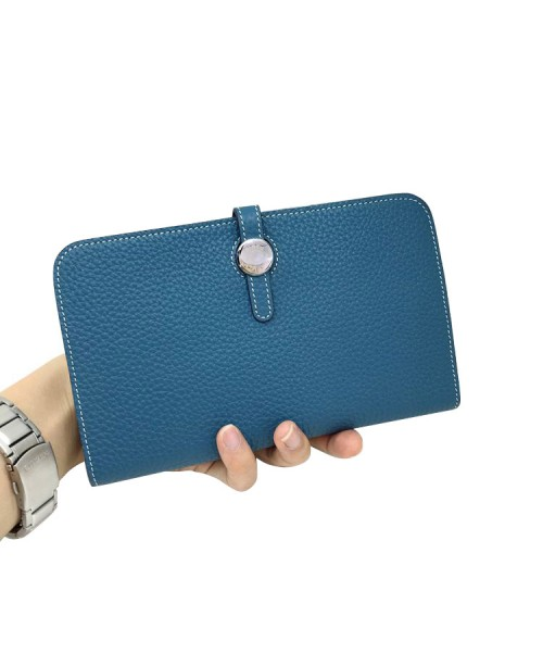 Replica Hermes Passport Wallet Blue Togo Leather-79080