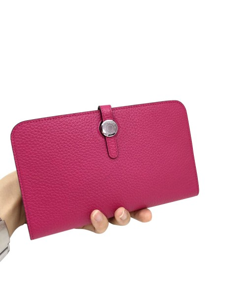 Replica Hermes Passport Wallet Plum Red Togo Leather-79081