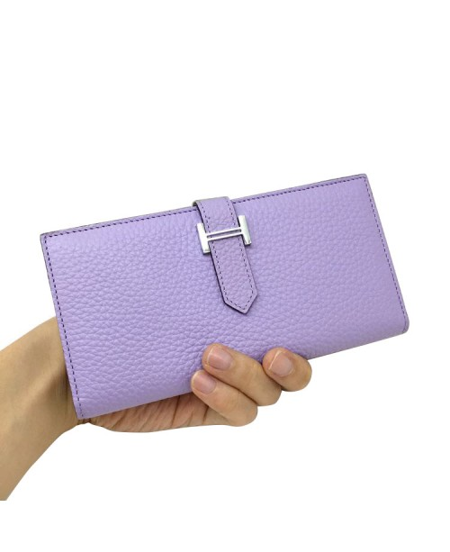 Replica Hermes Wallet Two Fold Light Purple Togo Leather-79084