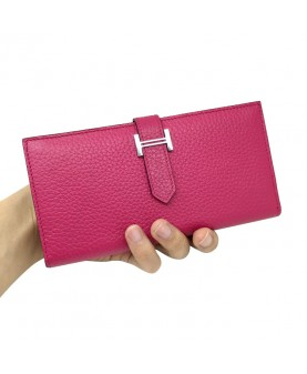 Replica Hermes Wallet Two Fold Plum Red Togo Leather-79085