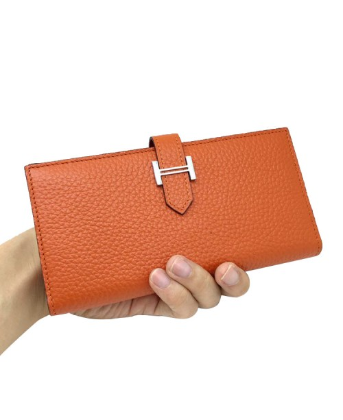 Replica Hermes Wallet Two Fold Orange Togo Leather-79086