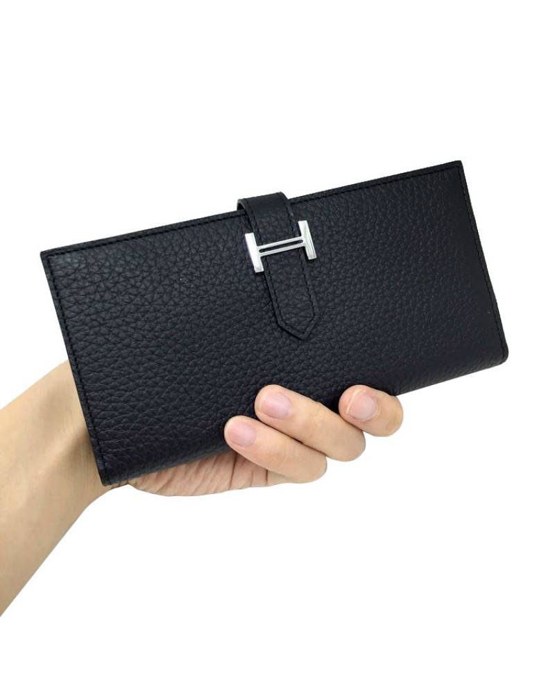 Replica Hermes Wallet Two Fold Black Togo Leather 79087