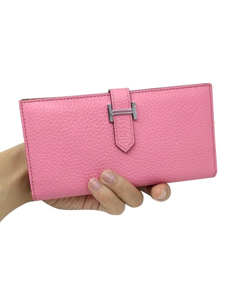 Replica Hermes Wallet Two Fold Pink Togo Leather-79088