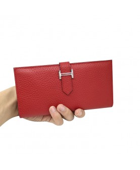 Replica Hermes Wallet Two Fold Red Togo Leather-79090
