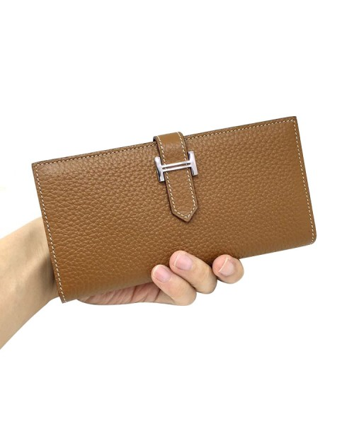 Replica Hermes Wallet Two Fold Brown Togo Leather-79091