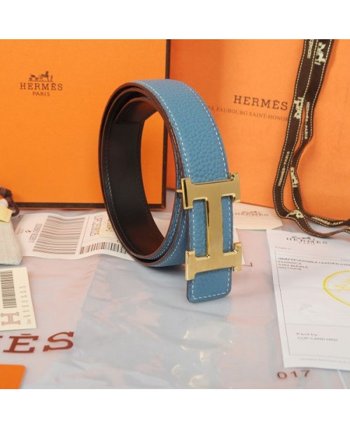 Replica Hermes Constance H Buckle Belt Reversible Blue Leather-79092