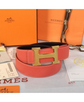 Replica Hermes Constance H Buckle Belt Reversible Red Leather-79093