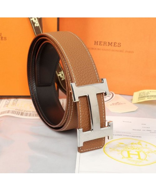 Replica Hermes Constance H Buckle Belt Reversible Brown Leather-79094