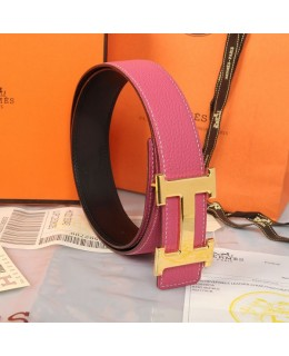 Replica Hermes Constance H Buckle Belt Reversible Pink Leather-79095