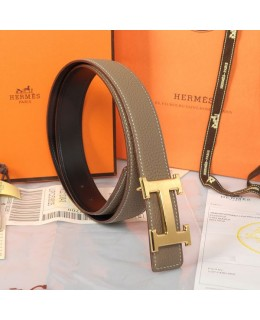 Replica Hermes Constance H Buckle Belt Reversible Gray Leather-79096