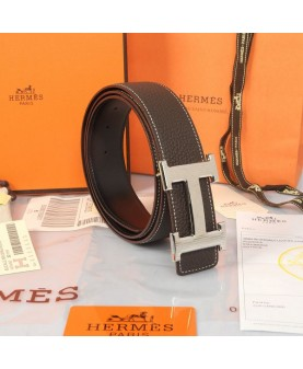 Replica Hermes Constance H Buckle Belt Reversible Deep Coffee Leather-79097
