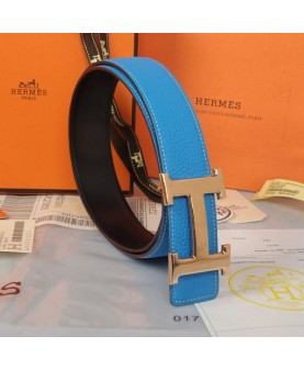 Replica Hermes Constance H Buckle Belt Reversible Blue Leather-79098