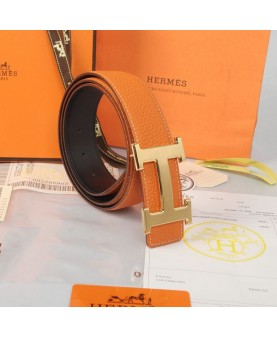 Replica Hermes Constance H Buckle Belt Reversible Orange Leather-79099