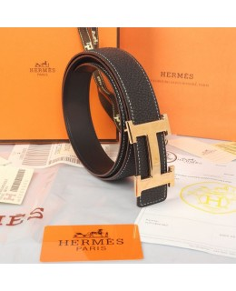 Replica Hermes Constance H Buckle Belt Reversible Black Leather-79100