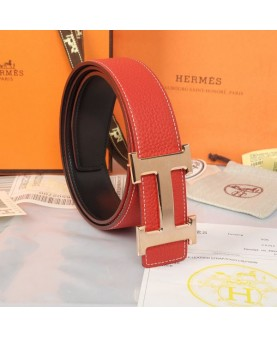 Replica Hermes Constance H Buckle Belt Reversible Red Leather-79101